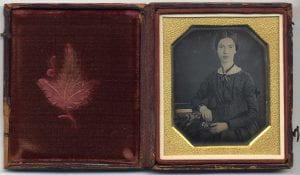 A daguerreotype portrait of Emily Dickinson
