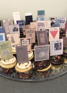 cupcakes with mini amherst publication covers
