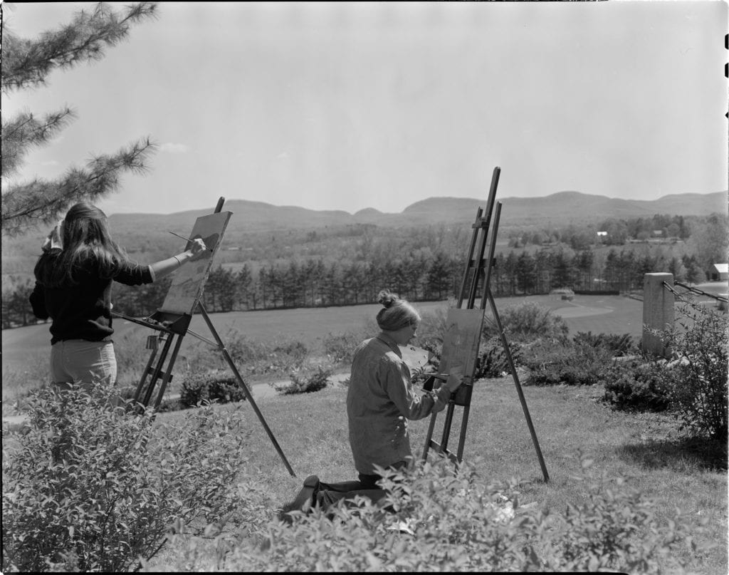 students painting the seven sister mountain range