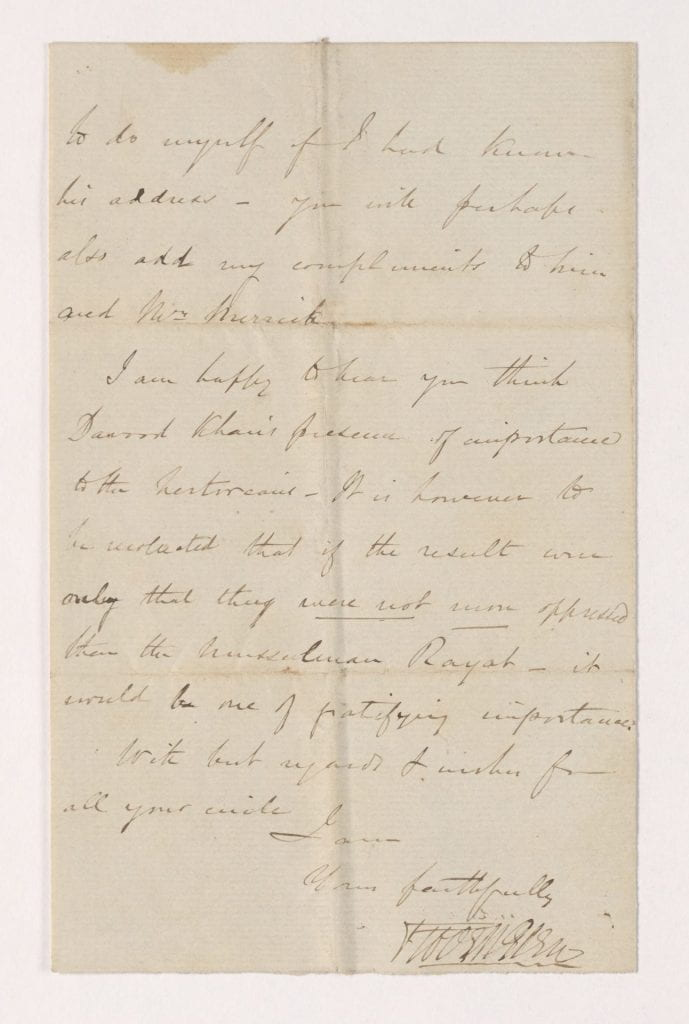 """A letter signed by Robert Glen, his signature is rather unclear, using unruly uppercase letters for his first name, and the cursive """"Glen"""" seems to blend in with the """"Robert"""""""