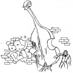 """Drawing of the back of a melting cello with a person running away, and the words """"Bad Plus"""" in inflated letters on a wall"""