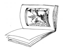 Drawing of an open book on its side, with an image of a path with a lamp post on one page