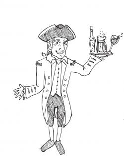 Drawing of a person wearing a tricorn hat, smiling, and holding a tray of alcoholic drinks