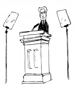 Drawing of an apparent male politician at podium, with teleprompters in front