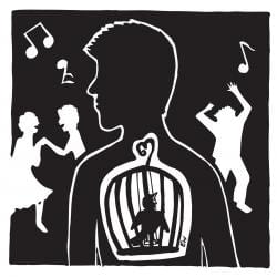 Silhouette drawing of a person with a caged bird inside them, looking at other people dancing