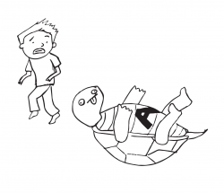Drawing of turtle on its back, with a letter A on its front, and a person looking concerned in the background