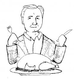 Drawing of Dan Brown eating a turkey