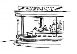 """Drawing that looks like the painting Nighthawks, but with the diner labeled """"Amherst Diner"""""""