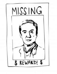 """Drawing of poster showing Jim Larimore and labeled """"Missing"""" at the top and """"$ Reward! $"""" at the bottom"""