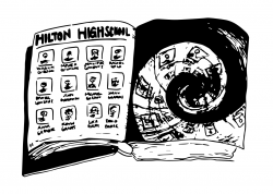 """Drawing of """"Hilton Highschool"""" yearbook, with page on right spiraling inward"""