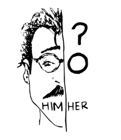 """Split image drawing with man's face and the word """"Him"""" on the left and a question mark, circle, and the word """"Her"""" on the right"""