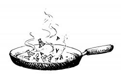 Drawing of a skillet with smoke coming out of it