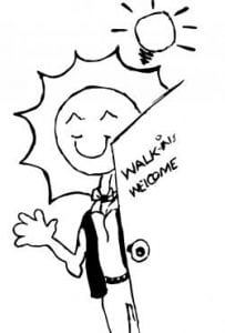 """Drawing of waving person with a smiling sun for a head, holding open a door labeled """"Walk-ins Welcome"""" and with a lightbulb above their head"""