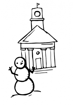 Drawing of Johnson Chapel with a snowman in front of it