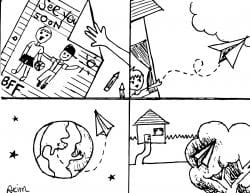 """Drawing of four sections: the first with """"See you soon BFF"""" on a paper being folded, the second showing a paper airplane being thrown, the third showing the paper airplane going around the earth, and the last showing it stuck in a tree outside of a home"""