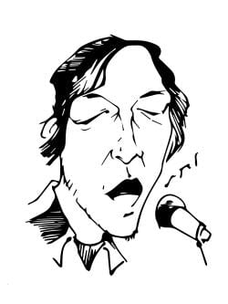 Drawing of someone singing into a microphone