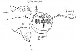 Drawing of a person looking though a magnifying glass at Amherst College on an upside down map