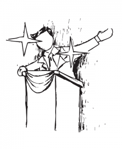 Drawing of person at podium, holding arm out, with stars superimposed on them