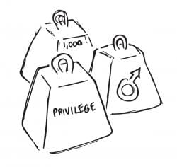 """Drawings of three weights, labeled with """"Privilege"""", """"1,000"""", and the symbol for Male"""