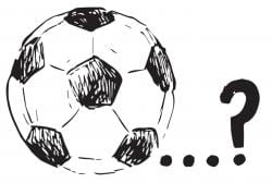 Drawing of a soccer bar, followed by three dots and a question mark
