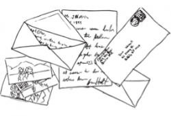 Drawing of hand written letters and envelopes