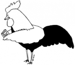 Drawing of chicken holding a smartphone