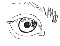 Drawing of a close up of an eye, with a small swastika in the pupil