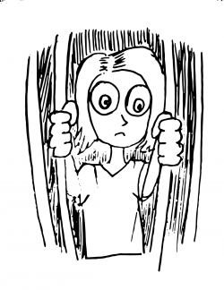 Drawing of a person with exaggerated eyes looking out of a barred place, holding on to two of the bars