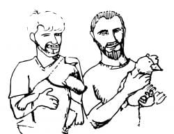 Drawing of two people, one holding a dog and the other holding a chicken