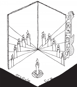 """Drawing of two cracked mirrors with multiple reflections of the candle in the foreground, with the words """"Arcade Fire"""" at the bottom and """"Reflecktor"""" on the side"""