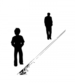 Drawing of two people silhouetted near the curb of a road