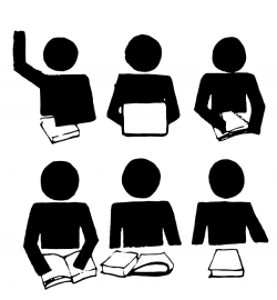 six icons of generic people with books and one is raising their hand