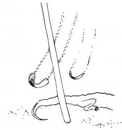 A drawing of an empty swingset and the back half of an alligator beneath it