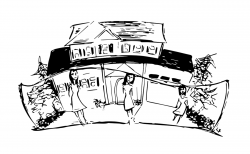 Drawing of women standing outside of a house