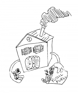 """Drawing of a house that looks like it is eating, with coal in one hand and a bucket labeled """"Fossil Fuels"""" in the other"""
