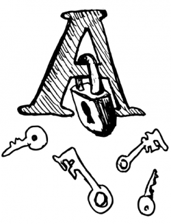 """Drawing of a capital letter """"A"""" with a lock on the crossbar of the letter and various keys in front of it"""
