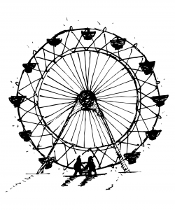 Drawing of a ferris wheel, with two people standing in front of it