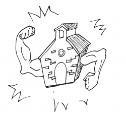 Drawing of a brick building, with muscular arms that are flexing