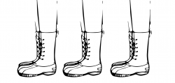 Drawing of three pairs of legs in a row wearing identical boots