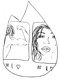 Drawing of cut off images of people behind a cut out of the Tinder logo