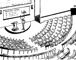 Drawing of large lecture hall with a person teaching at the front and all of the seats empty