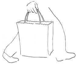 Drawing of lower half of someone walking and carrying a bag