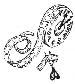 Drawing of a movie reel that is also a clock, with some of the film being cut off with scissors