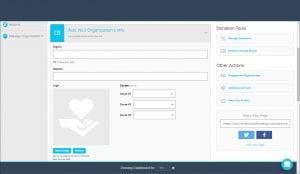 GiveGab fields for organization info