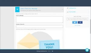 GiveGab Thank you message fields