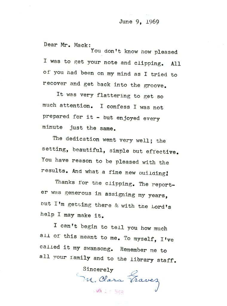 Clara Gravez's personal thank you letter to James D. Mack after the dedication