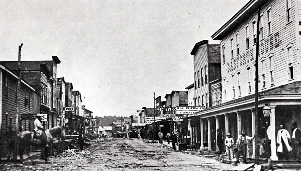 View of Holmden Street in Pithole, PA circa 1866