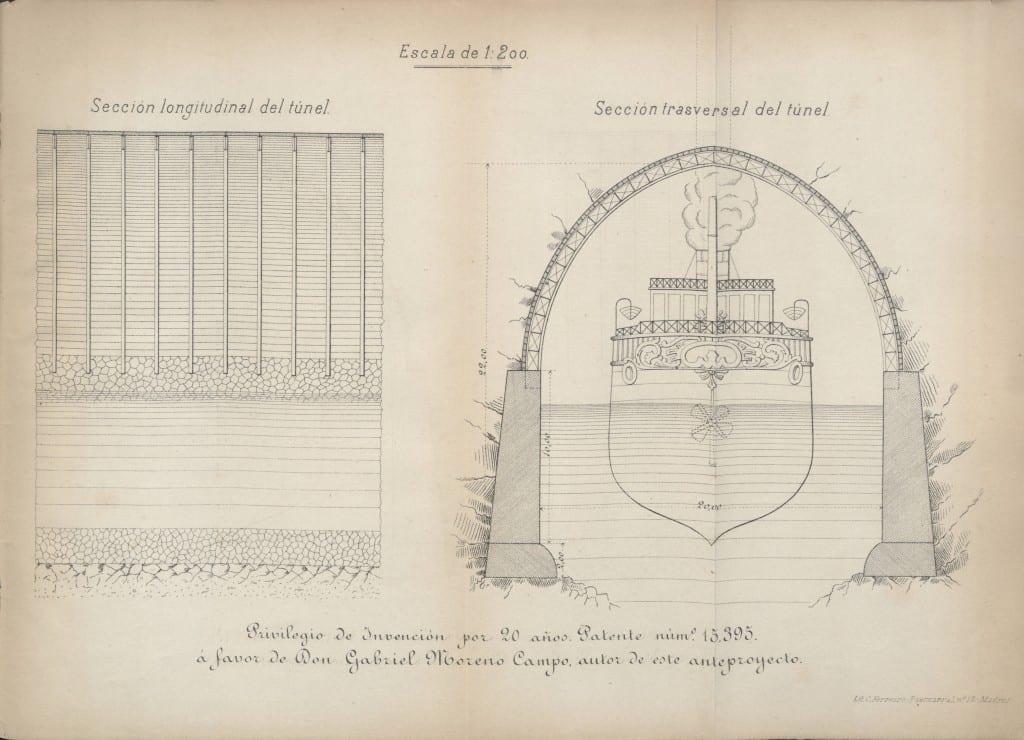Sección longitudinal del túnel; Sección trasversal del túnel [Lithograph]