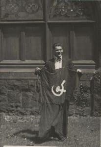 Man holding soviet flag