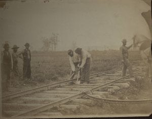 Original Photograph (SC PHOTO 0001- [Two Men Bending Rails])